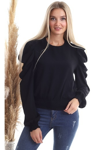 Cottonmood 20343329 Sunshine Kol Pileli Etek Gipeli Uzun Kol Bluz Lila Siyah
